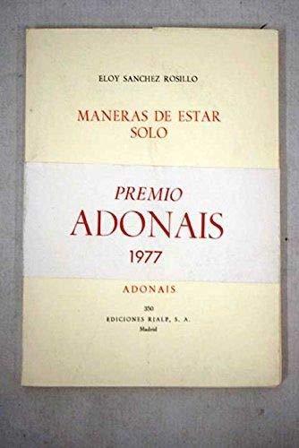 9788432119422: Maneras de estar solo (Adonais ; 350) (Spanish Edition)