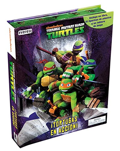 9788444169705: Teenage Mutant Ninja Turtles. ¡Tortugas en acción!: Incluye un libro, 12 figuritas de plástico y un tablero de juego