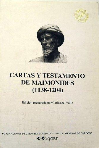 9788450586442: Cartas Y Testamento De Maimonides (1138-1204)