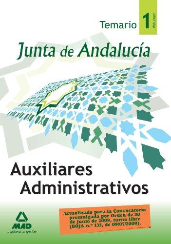 9788467603569: Auxiliares Administrativos de la Junta de Andalucía. Temario. Volumen 1 (Spanish Edition)