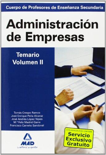 9788467635928: Cuerpo de profesores de enseñanza secundaria. Administración de empresas. Temario. Volumen ii - 9788467635928