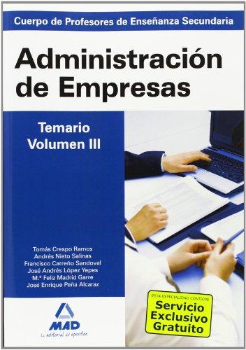 9788467635935: Cuerpo de Profesores de Enseñanza Secundaria. Administración de Empresas. Temario. Volumen III