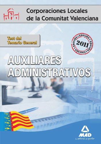 9788467654714: Auxiliares Administrativos de Corporaciones Locales de la Comunitat Valenciana. Test del Temario General (Spanish Edition)