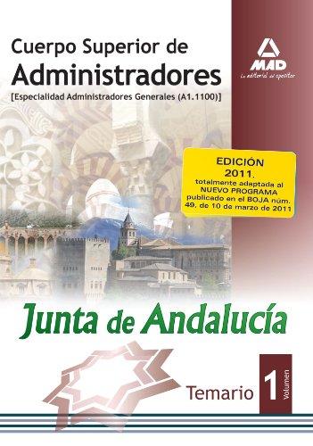 9788467663778: Cuerpo Superior de Administradores [Especialidad Administradores Generales (A1.1100)] de la Junta de Andalucía. Temario. Volumen 1 (Spanish Edition)