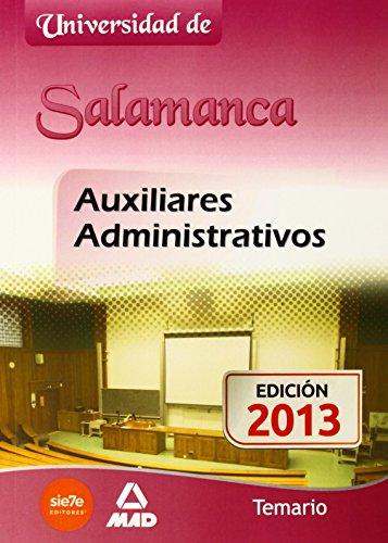 9788467694369: Auxiliares Administrativos de la Universidad de Salamanca. Temario