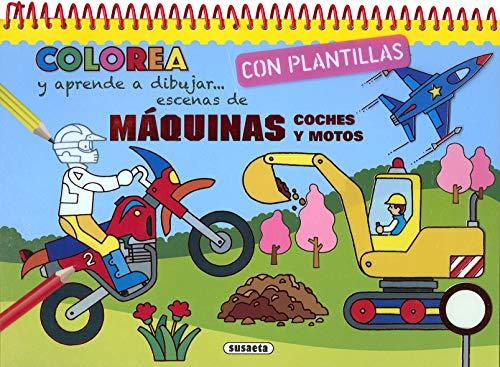 9788467761825: Máquinas, coches y motos (Colorea y aprende a dibujar con plantillas)