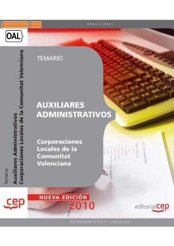 9788468100135: Auxiliares Administrativos, Corporaciones Locales, Comunidad Valenciana. Temario