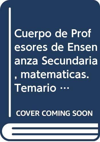 9788468168593: Cuerpo de Profesores de Enseñanza Secundaria. Matemáticas. Temario Vol. I. - 9788468168593