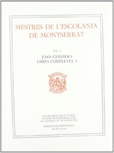 Mestres de l'Escolania de Montserrat, Volum I.: Cererols, Joan