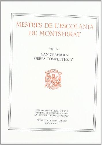 Obres Completes, Vol. 5.: Cererols, Joan.