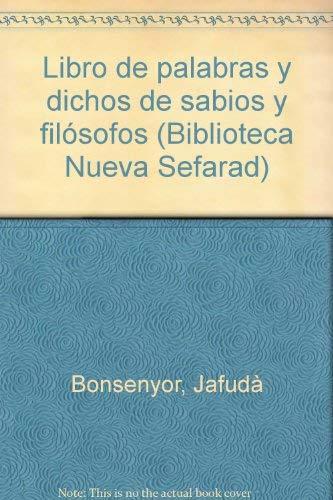 Libro De Palabras Y Dichos De Sabios Y Filosofos Introduccion Y