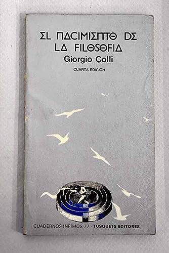 9788472235779: El Nacimiento De La Filosofia (Spanish Edition)