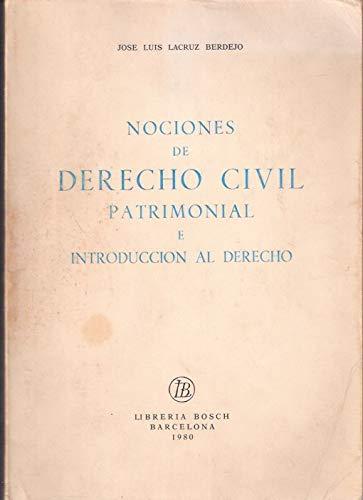 9788472941373: Nociones de derecho civil patrimonial e introducción al derecho