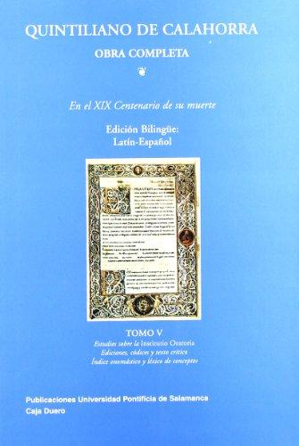 9788472995208: QUINTILIANO DE CALAHORRA V. INDICES Y ESTUDIOS. O.C. LATIN-ESPAÃ'OL