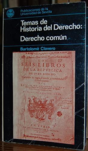 9788474050622: Derecho común (Temas de historia del derecho) (Spanish Edition)