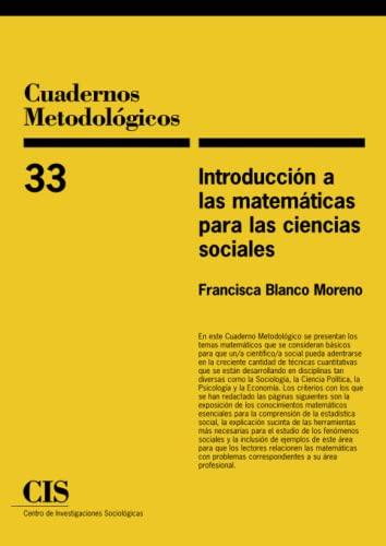 9788474763577: Introducción A Las Matemáticas Para Las Ciencias Sociales (Cuadernos Metodológicos)