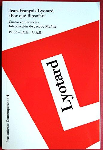 9788475095325: Por Que Filosofar?/ Why Philosophy? (Pensamiento Contemporaneo / Contemporary Thought) (Spanish Edition)