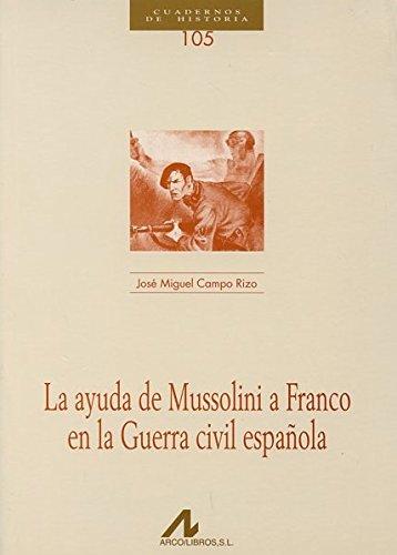 9788476357705: La ayuda de Mussolini a Franco en la Guerra civil española (CUADERNOS DE HISTORIA)