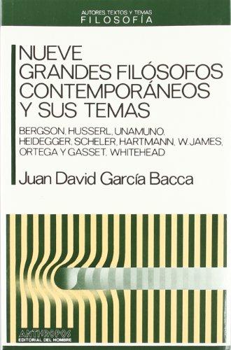 9788476582015: NUEVE GRANDES FILOSOFOS CONTEMPORANEOS Y SUS TEMAS (Autores, Textos y Temas) (Spanish Edition)