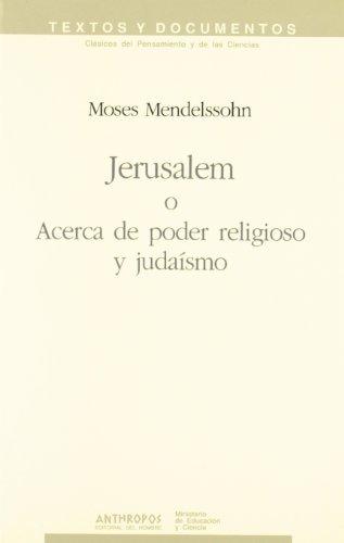 9788476582602: Jerusalem O Acerca De Poder Religioso Y Judaísmo