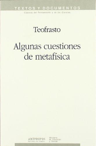 9788476582749: Algunas Cuestiones de Metafisica (Textos y documentos) (Spanish Edition)