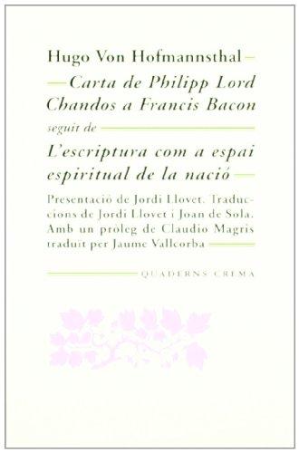 CARTA DE PHILIPP LORD CHANDOS A FRANCIS BACON MM-97 - VON HOFMANNSTHAL, HUGO
