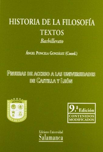 9788478001781: Historia de la Filosofia (9º ed,) Textos. Bachillerato