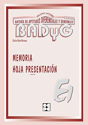 9788478693085: BADYG E1: memoria V-A inmediata. Hoja de presentación