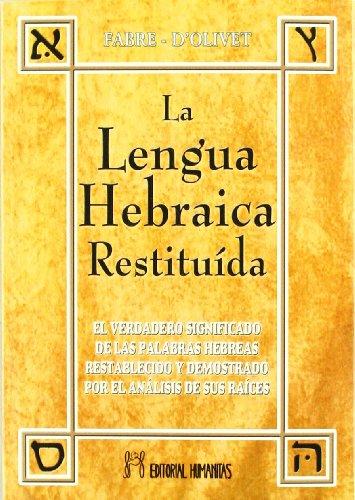 Lengua Hebraica Restituida Tomo 1 - Fabre / D'olivet (papel) - FABRE / D'OLIVET