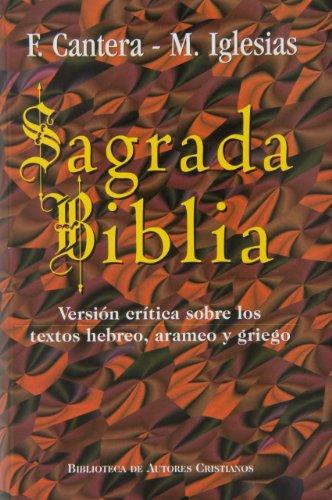 9788479144906: Sagrada Biblia (Cantera-Iglesias): Versión crítica sobre los textos hebreo, arameo y griego (MAIOR)