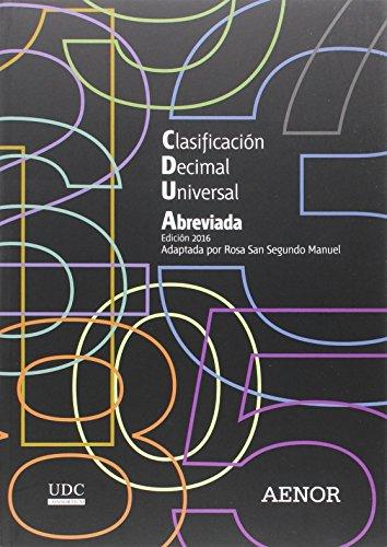 9788481438888: Clasificación Decimal Universal (CDU) abreviada: Edición 2016