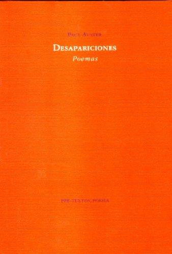 9788481910858: Desapariciones: Poemas ( Poesía)