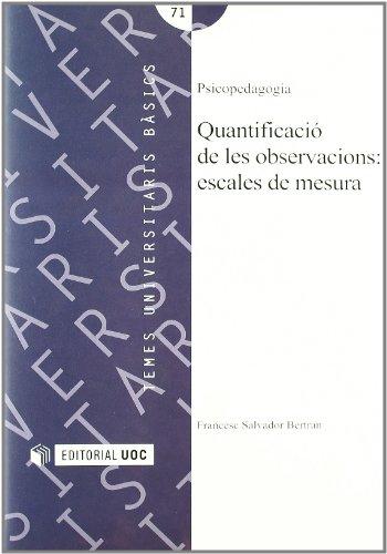 9788483180600: Quantificació de les observacions : escales de mesures