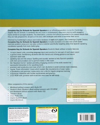 9788483237021: Complete Key for Schools for Spanish Speakers Student's Pack (Student's Book without Answers with CD-ROM, Workbook without Answers with Audio CD)