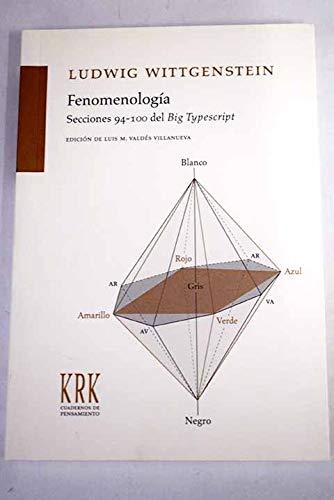 9788483672303: FENOMENOLOGIA. SECCIONES 94-100 DEL BIG TYPESCRIPT