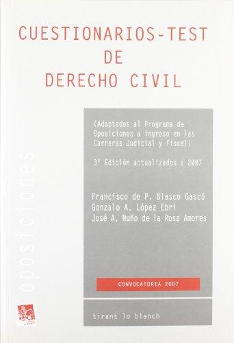 9788484568377: CUESTIONARIOS TEST DE DERECHO CIVIL.