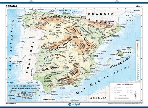 9788485406517: Edigol Wall Maps 100 X 140 cm: Espana (fisico/politico)