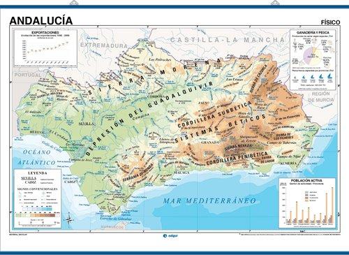Mapa De Andalucia Politico.9788485406548 Mapa Mural Andalucia Mpreso A Doble Cara