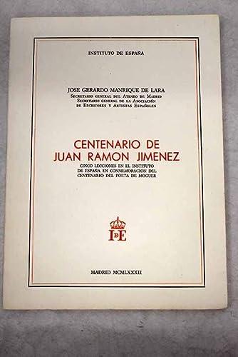 Centenario De Juan Ramon Jimenez: Cinco Lecciones: Manrique de Lara,