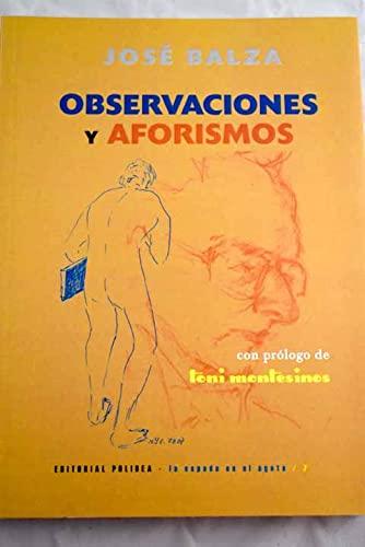 9788486701918: OBSERVACIONES Y AFORISMOS (LA ESPADA EN EL ÁGATA)