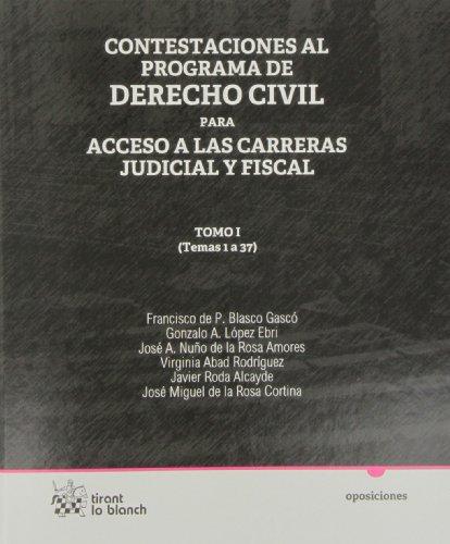 9788490045909: Contestaciones al programa de Derecho civil Tomo I para acceso a las carreras judicial y fiscal