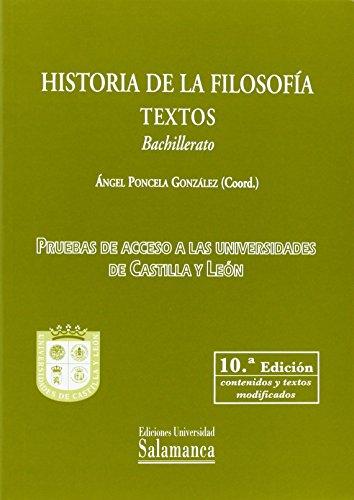 9788490124369: Historia de la filosofía. Textos. Bachillerato (10ª ed.)