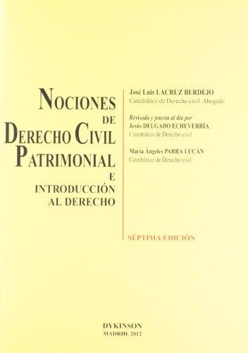 9788490311165: Nociones de Derecho Civil Patrimonial e introducción al derecho