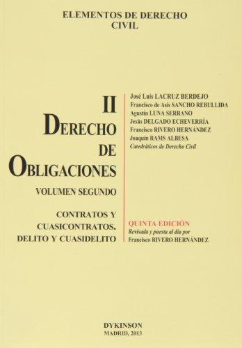 9788490316115: Elementos de Derecho Civil. Tomo II. Derecho de Obligaciones. Volumen 2. Contratos y Cuasicontratos