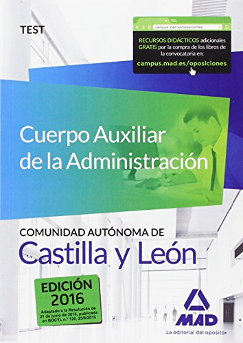 9788490937990: Cuerpo Auxiliar de la Administración de la Comunidad Autónoma de Castilla y León. Test