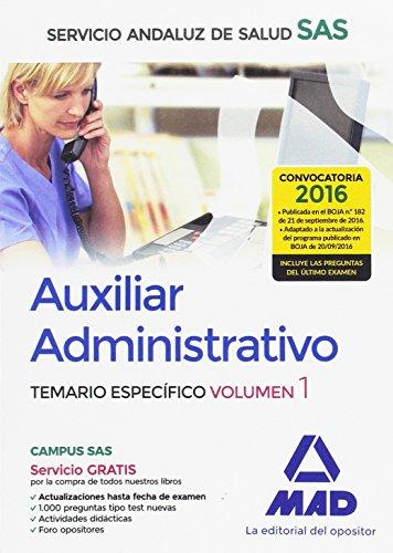 9788490939352: Auxiliar Administrativo del Servicio Andaluz de Salud. Temario específico volumenl 1