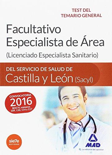 9788490939697: Facultativo Especialista de Área del Servicio de Salud de Castilla y León (SACYL). Test delTemario general