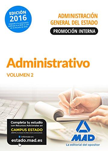 9788490939871: Administrativo de la Administración General del Estado (Promoción interna). Temario volumen 2