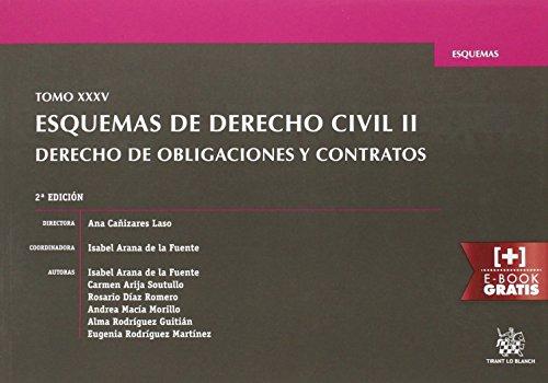 9788491194996: Tomo XXXV Esquemas de Derecho Civil II Derecho de Obligaciones y Contratos 2ª Edición 2016