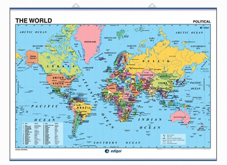 9788492525980: Wall Map The World physical/polical Mercator projection